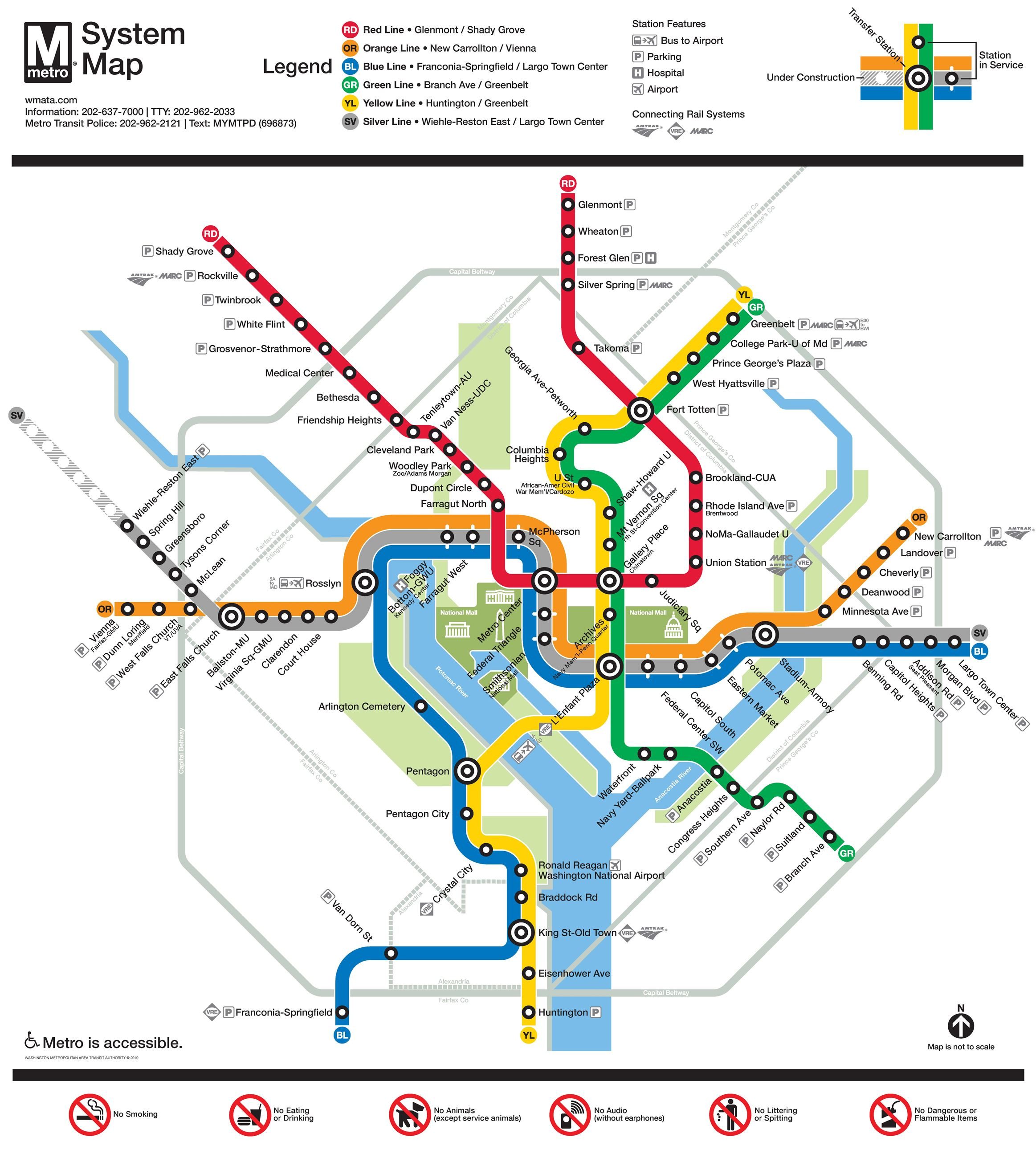 Small map of the DC Meto with colors showing different lines Opens in new window