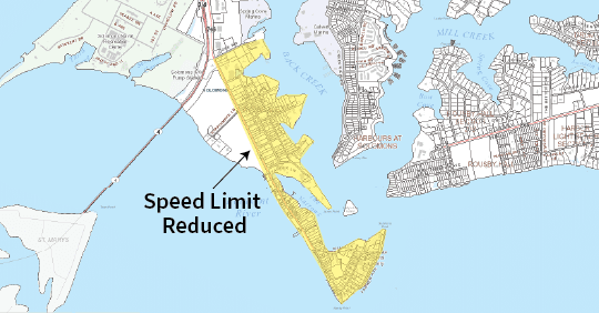 Map showing area south of Lore Road in Solomons where speed limits will be reduced