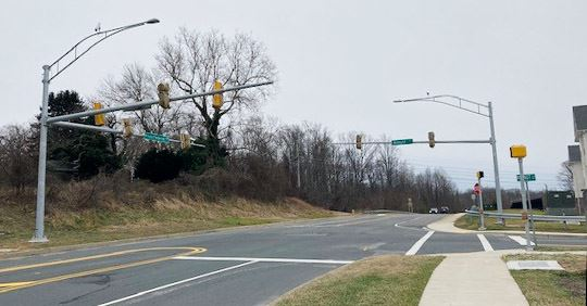 New traffic signal at the intersection of Prince Frederick Boulevard and Allnutt Court.